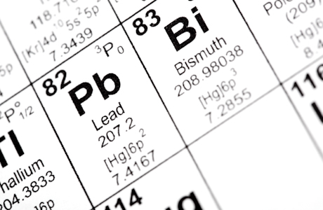 Lead periodic table square best table 2018 black lead element into golden square shape isolated in periodic table urtaz Gallery